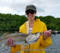 Barramundi fishing in the estuary of Trinity Inlet, Cairns.