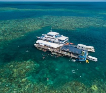 Our double-storey Moore Reef Marine Base is anchored at Moore Reef, 47km off Cairns.