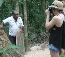 Learning about the rainforest from an aboriginal elder