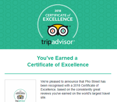 We are so happy to have been awarded a Certificate of Excellence from Trip Advisor!