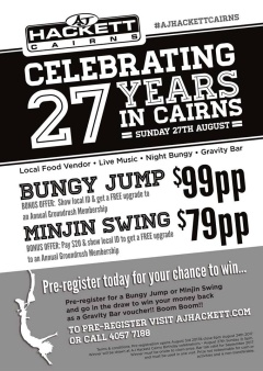 AUGUST 27TH 2017 JOIN US TO HELP CELEBRATE 27 YEARS OF BUNGY IN CAIRNS!!