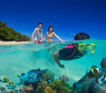 Spend the day snorkelling the fringing coral reefs